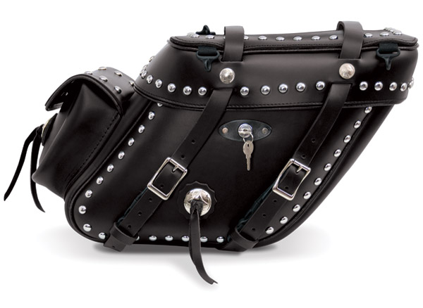 Leatherworks, Inc. Wide Angled Studded and Locked Saddlebags with Rear Pocket