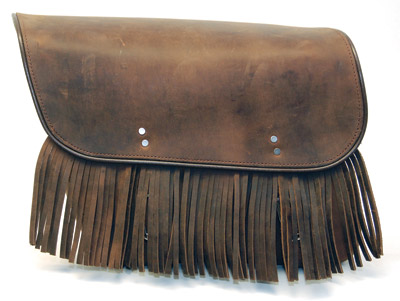 Leatherworks, Inc. Distressed Brown Bolt-On Saddlebags with Fringe