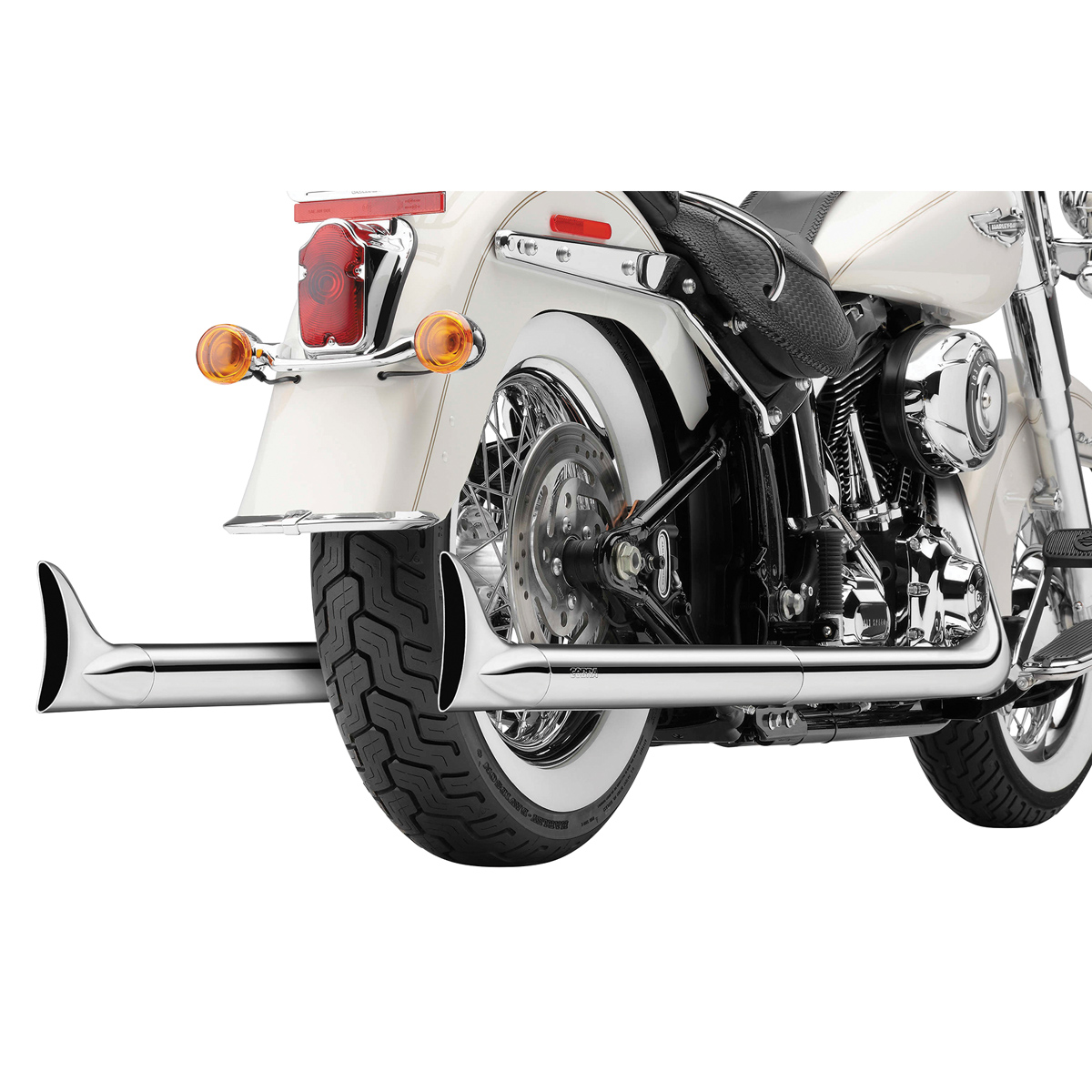 Cobra Softail Duals Full Exhaust Chrome with Fishtail Tips