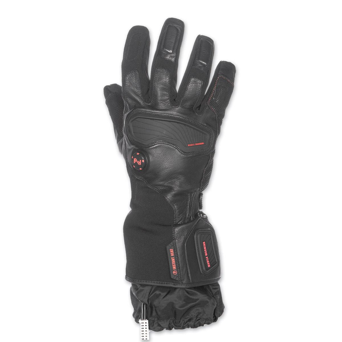 Mobile Warming Men's Barra Leather/Textile Heated Black 12v Gloves