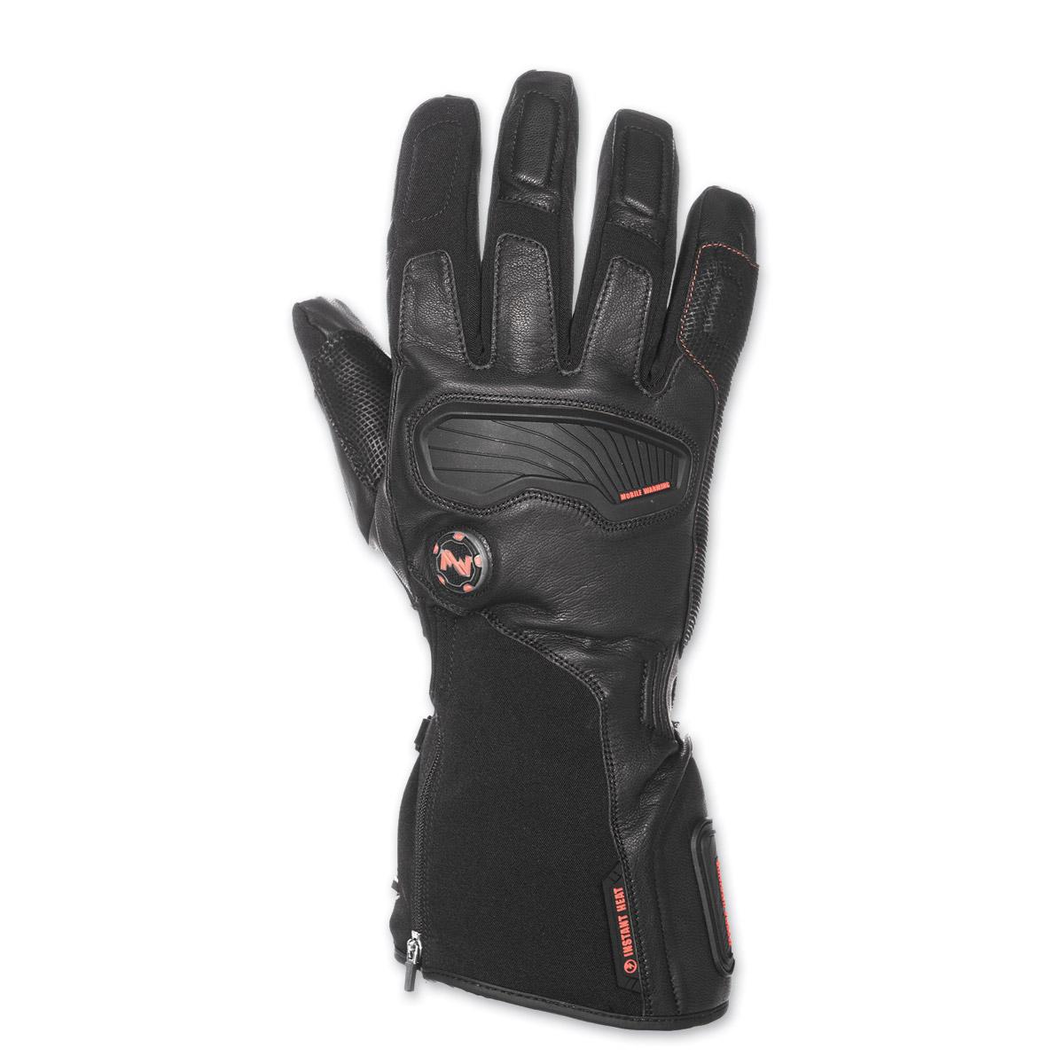 Mobile Warming Men's Barra Leather/Textile 7.4V Heated Black Gloves