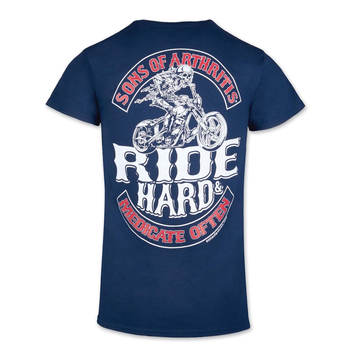 Sons of Arthritis Men's Medicate Often Navy T-Shirt