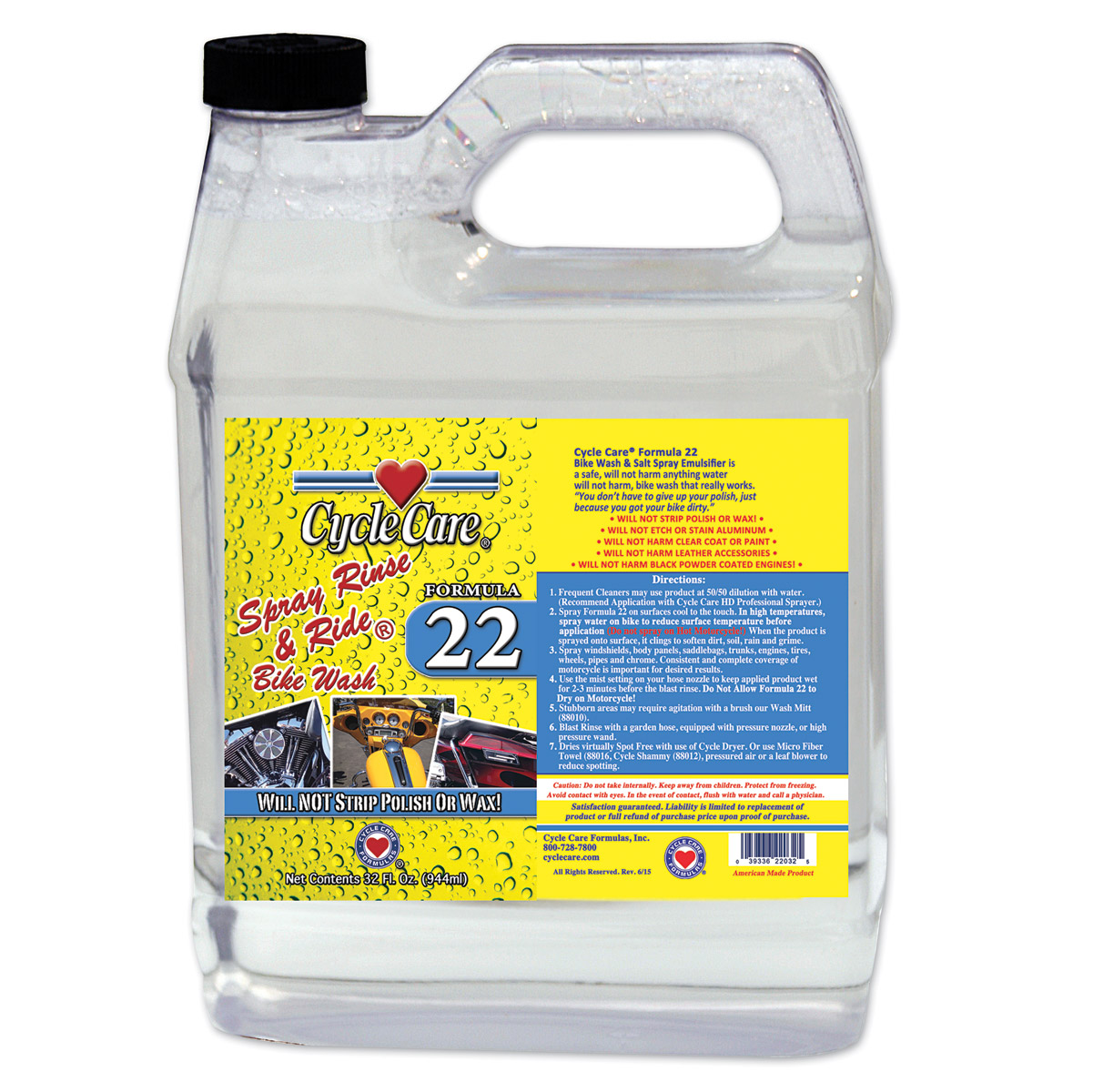 Cycle Care 1 Gallon Formula 22 Spray Rinse and Ride Bike Wash