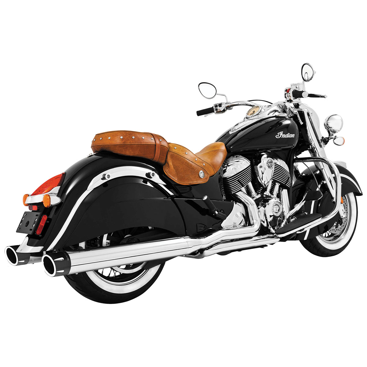 Freedom Performance Exhaust Combat Slip-On Mufflers, Chrome with Black Tip
