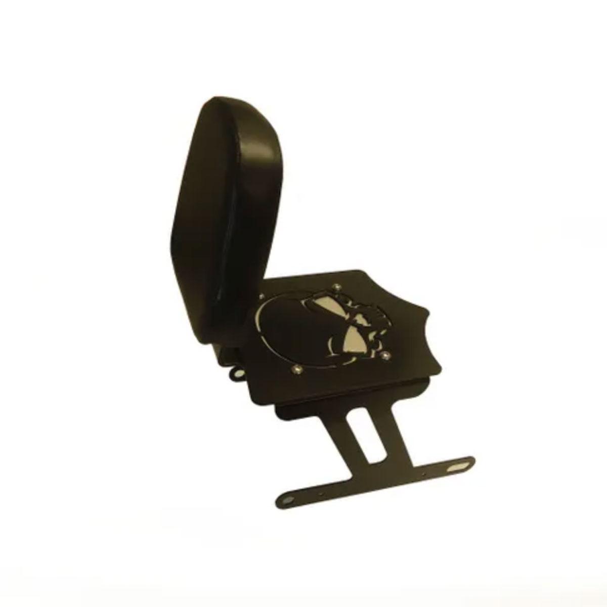 BDD Custom Black Skull Sissy Bar w/Luggage Rack & Backrest for 2-Up Seats