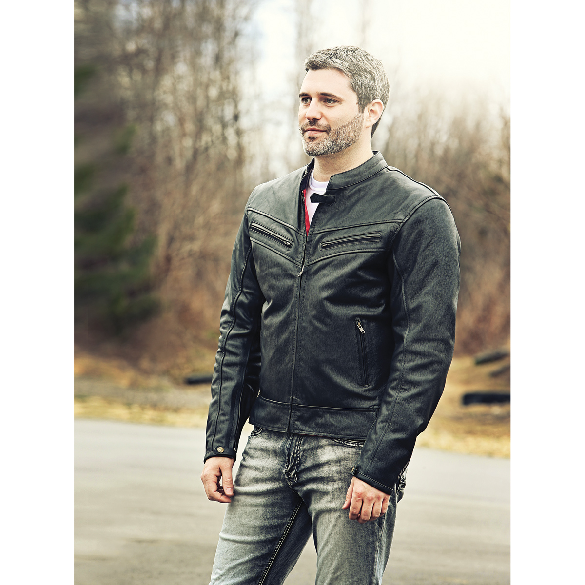 Olympia Moto Sports Men's Vincent Black Leather Jacket