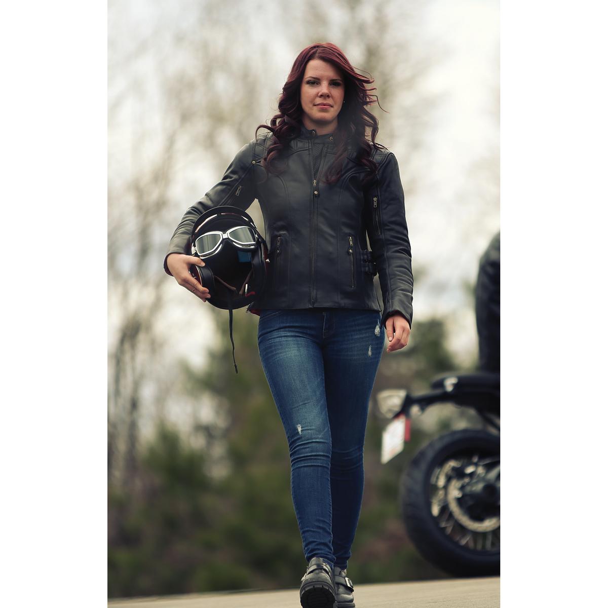 Olympia Moto Sports Women's Janis Black Leather Jacket
