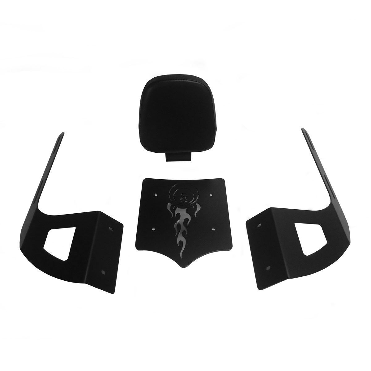 BDD Custom Black 8 Ball Sissy Bar w/Luggage Rack & Backrest for 2-Up Seats