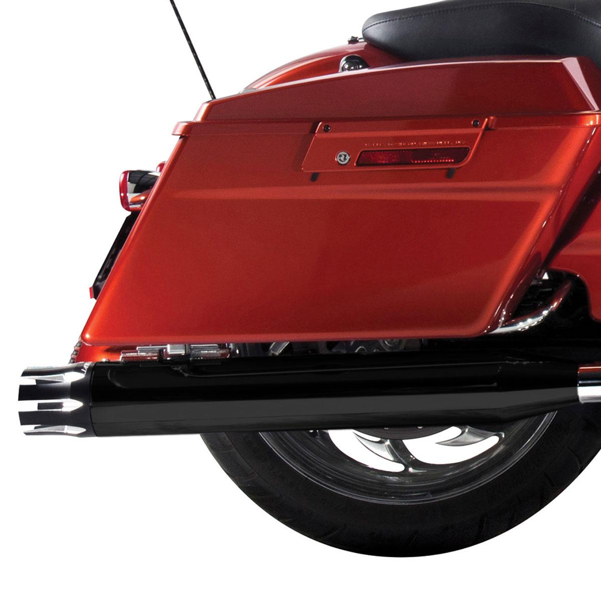 Rinehart Racing Moto Series 4″ Slip-ons Black with Black Castle End Caps