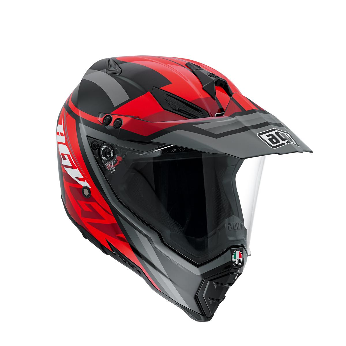 AGV AX-8 Dual Evo Karakum Black/Red Dual Sport Helmet
