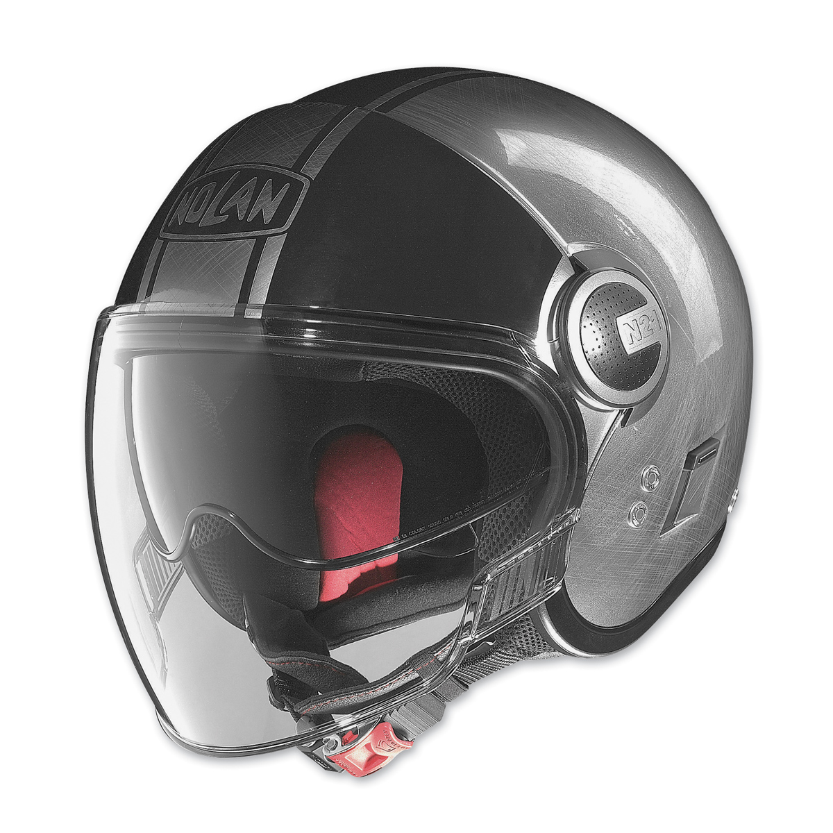 nolan n21 visor duetto scratched chrome black open face helmet 920 654 j p cycles. Black Bedroom Furniture Sets. Home Design Ideas