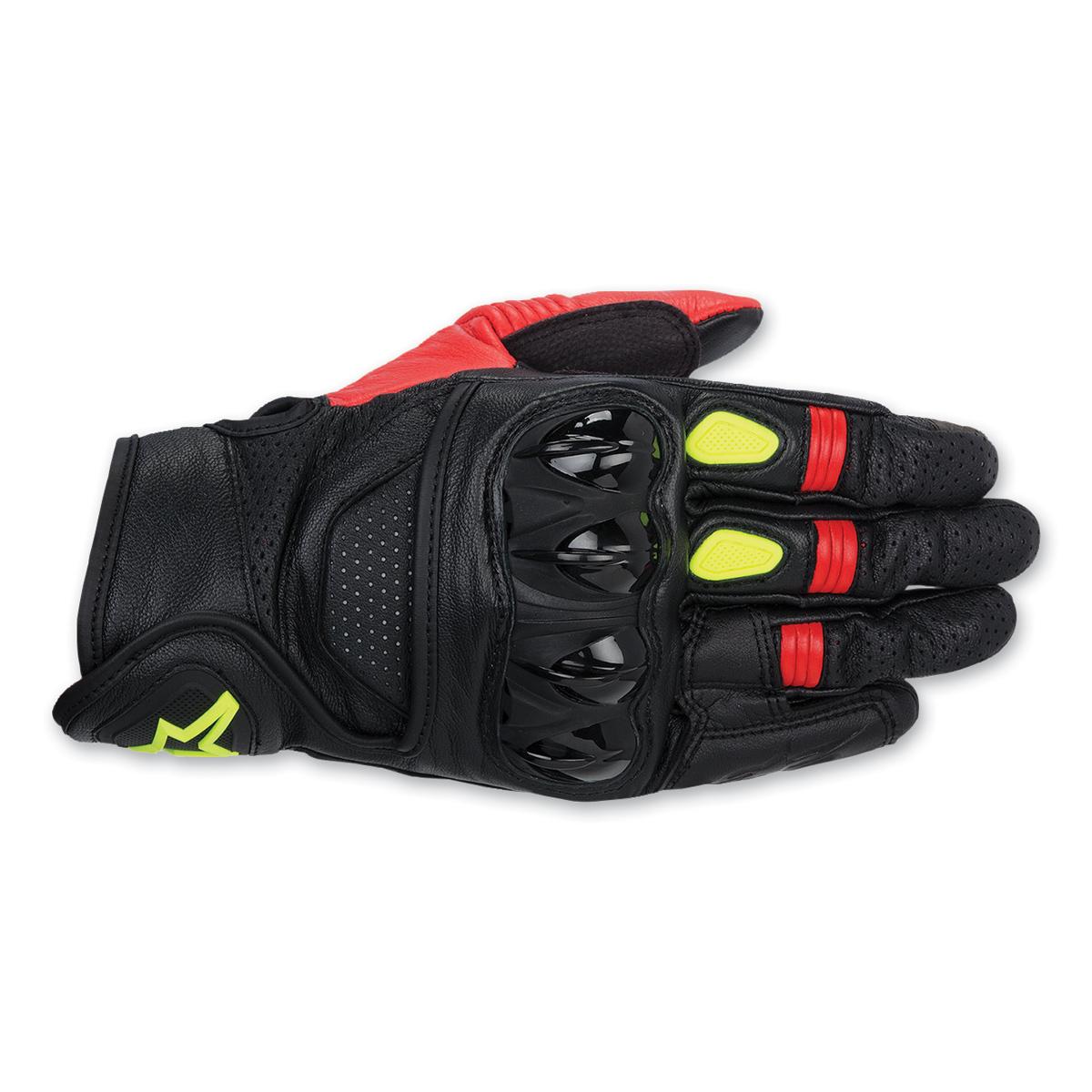Alpinestars Men's Celer Black/Red/Hi-Viz Leather Gloves