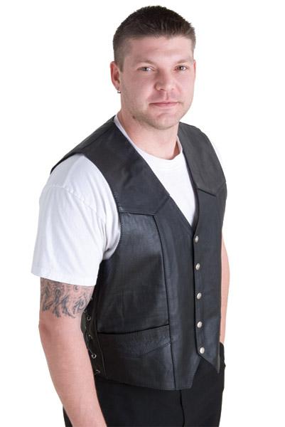 0b2361b0b Interstate Leather Men's King Side Laced Black Leather Vest