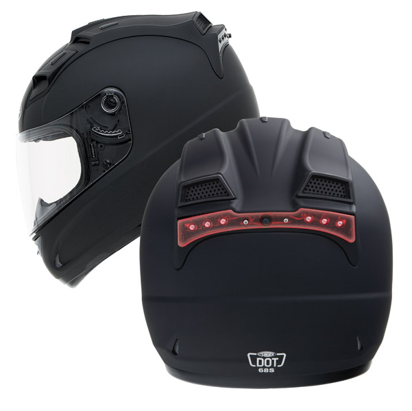 GMAX GM68 Matte Black Full Face with Built In LED Light Helmet