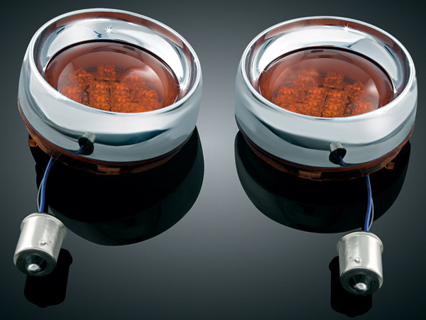 Kuryakyn Deep Dish Chrome Bezels with Front Amber 2 Circuit LEDs