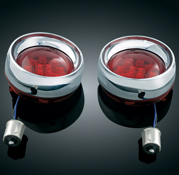 Kuryakyn Deep Dish Bezels with Rear Red Lens Single Circuit LED