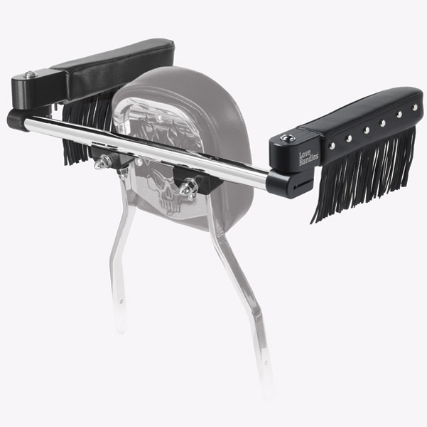 Love Handles Chrome with Studs and Fringe Arm Rest for Cobra Rectangle Backrest