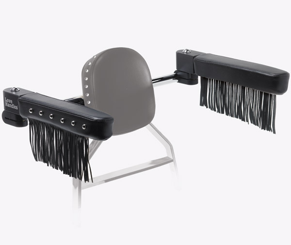 Love Handles Chrome with Studs and Fringe Arm Rest for Kawasaki