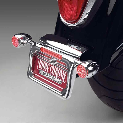 Show Chrome Accessories License Plate Holder with Red LED Turn Signals