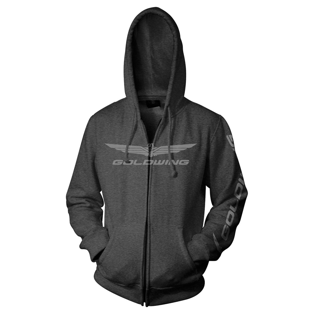 Honda Gold Wing Casual Charcoal Zip-Up Hoodie
