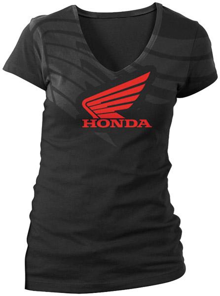 Honda Women's Abstract Wings Black T-shirt