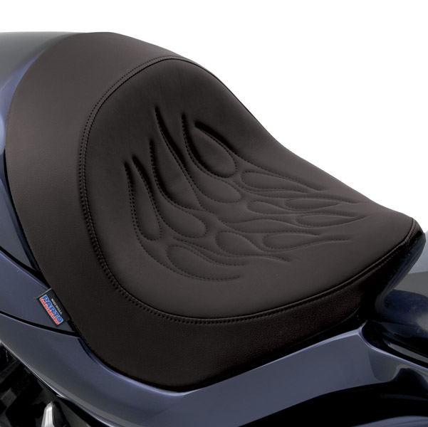 Drag Specialties Solo Seat with Tribal Flame Stitching