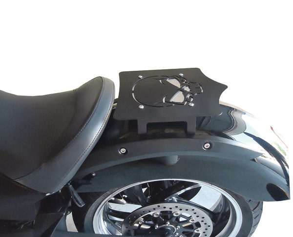 BDD Custom Black Skull Luggage Rack for Victory Factory Solo Seat Models