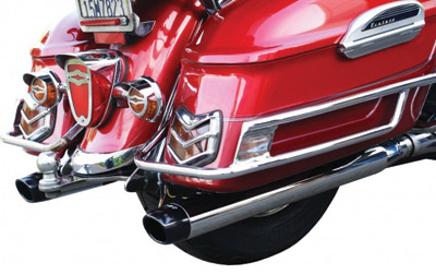 LA Choppers Oval Bag Slip-On Slash Mufflers for Royal Star and Venture