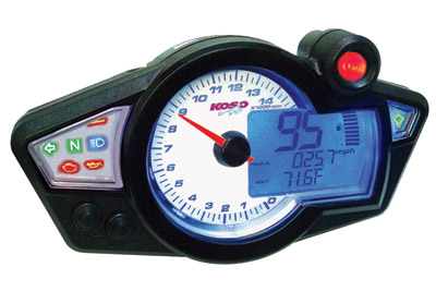 RX-1N GP-Style White Speedometer with Black Body