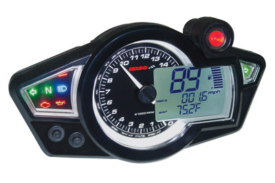 RX-1N GP-Style Black Speedometer with Black Body