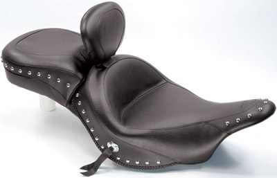 Mustang One-Piece Wide Studded Touring Seat with Driver Backrest
